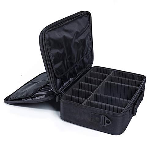 Voyage maquillage train Sac maquillage étui portable avec séparateurs réglables Oxford imperméable grande capacité avec une seule bandoulière,black,S