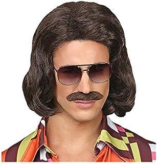 Hippie Costume Adulto Nero Afro Pace Arcobaleno occhiali e baffi neri