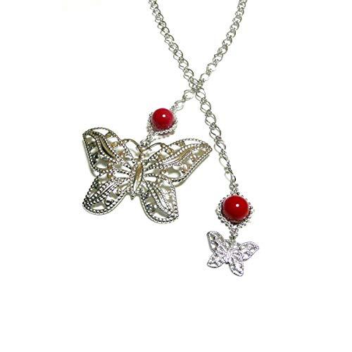 【 蝶 ブローチ ヘッド 】 赤珊瑚 ラリエット ネックレス 70センチ