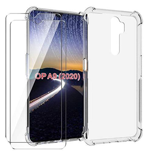 HYMY Funda para OPPO A9 (2020) Smartphone + 2 x Cristal Templado - Transparente Tapa TPU Silicona [Refuerzo de Cuatro Esquinas, Absorción de Golpes] Caso Carcasa para OPPO A9 (2020)
