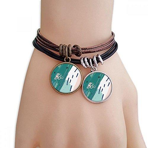 DIYthinker Damen Flüsse Abstrakte Pflanzen-Kunst-Muster-Armband Doppel-Leder-Seil-Armband Paar Sets