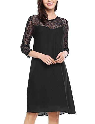 Zeagoo Damen Chiffon Kleid mit Spitzen Elegant Cocktail Party Abendkleid Sommerkleider 3/4 Ärmel A Linie Knielang Schwarz L