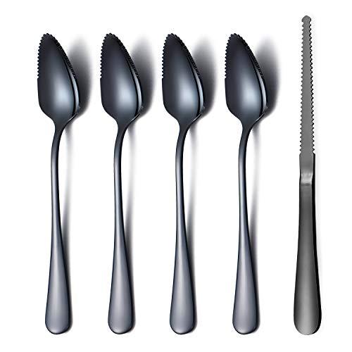 Amazon Brand Black Grapefruit Spoons 5 Pieces Set, 4 Stainless Steel...