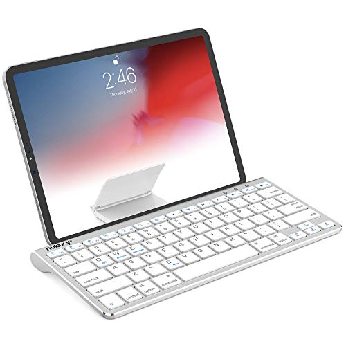Nulaxy KM13 Bluetooth Keyboard with Sliding Stand Compatible with Apple iPad iPhone Samsung Android Windows Tablets Phones - Silver