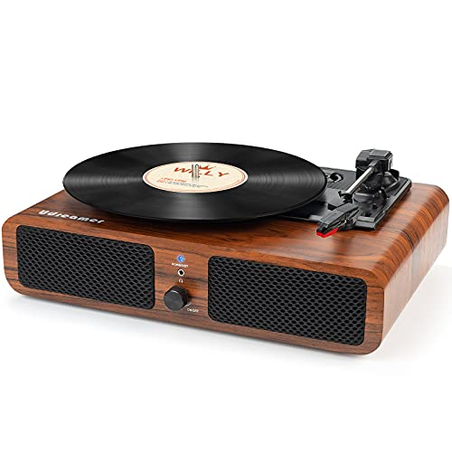 Udreamer Record Player Vinyl Bluetooth Turntable with Built-in Speakers 3-Speed Portable Vintage LP Player, Support USB RCA Output Aux Input Headphone Playback