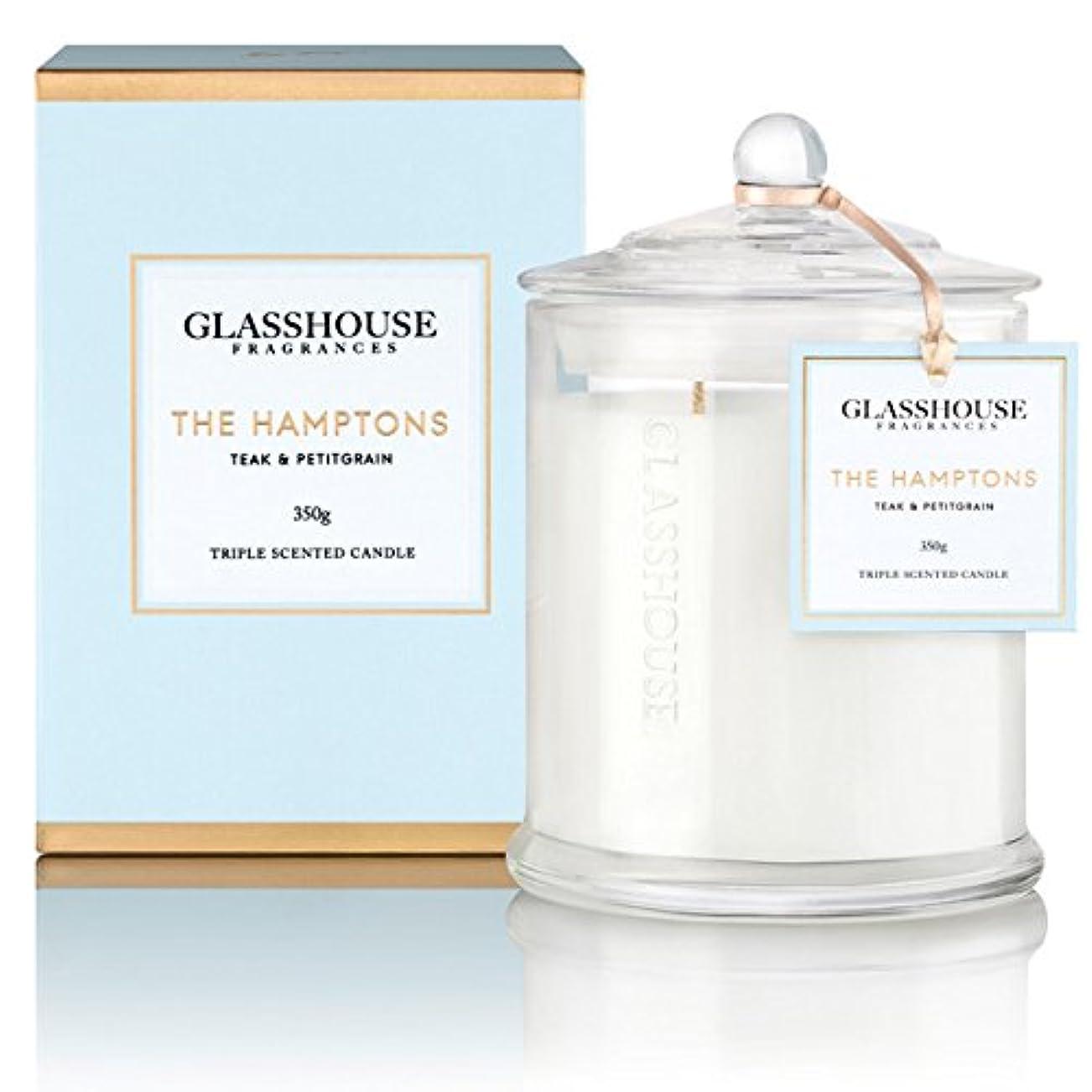 テロ公爵石膏GLASSHOUSE グラスハウス アロマキャンドル (ハンプトンズ) ウッディフローラル 350g