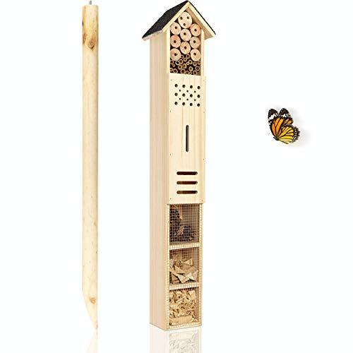 deintierhaus.de© | XXL Insektenhotel mit Erdspieß - Nisthilfe für Bienen, Marienkäfer & Schmetterlinge - Freistehendes Insektenhaus - Bienenhotel aus unbehandeltem Holz | ca. 160cm Höhe