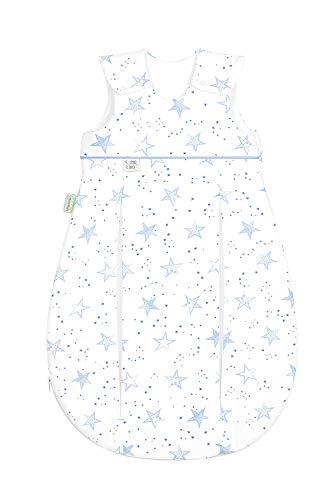 Set Odenwälder Baby-Schlafsack Prima Klima & Stoffwindel von Kinderhaus Blaubär | Ganzjahresschlafsack längenverstellbar | leichter Schlafsack atmungsaktiv, Größe:90, Design:Sterne blau