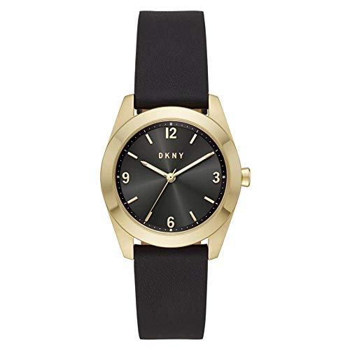 DKNY Damen-Uhren Analog Quarz One Size Schwarz Leder 87920666