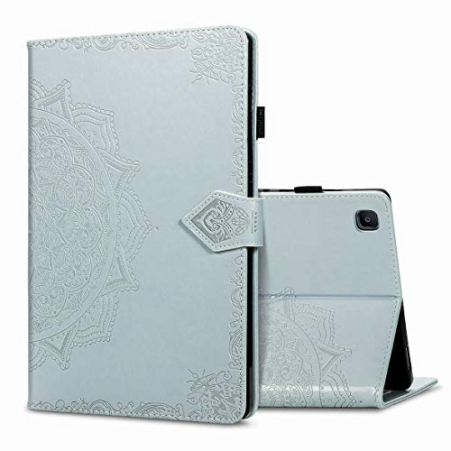 KM-WEN Tablet Case for Samsung Galaxy Tab A7 SM-T500/T505 (10.4 Inch) Bookstyle Embossing Mandala Pattern PU Leather Flip Cover Case Bag with Stand Auto Sleep/Wake Protective Cover Gray
