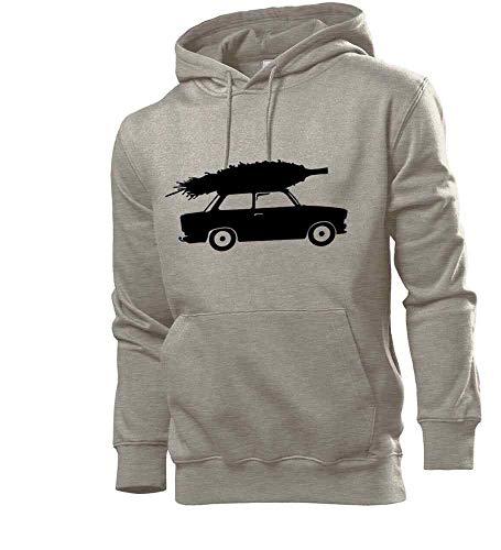 Generisch Trabant mit Weihnachtsbaum Männer Hoodie Sweatshirt Grau M - shirt84.de