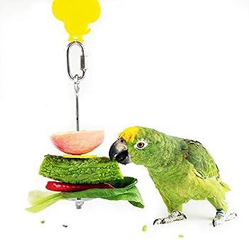Mangeoire Suspendue pour Perroquet, 2PCS Paniers de Nourriture pour Perroquet Porte-Nourriture pour Oiseaux, Brochette Nourriture Perroquet en Acier Inoxydable À Panier pour Millet Fruit Légumes