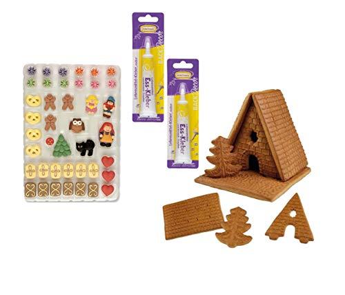 Günthart Lebkuchenhaus Bauset | Lebkuchehaus Bausatz | Lebensmittelkleber | Zuckerfiguren | Hexenhaus | Pfefferkuchenhaus