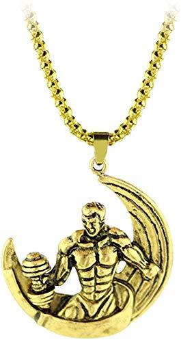 NC188 Hip Hop Gym Fitness Dumbbell Barbell Collar Cadena de Color Dorado Luna Colgantes y Collares para Hombres Regalos Deportes Joyería de Fitness