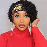 Sooolavely Deep Wave Headband Wigs for Black Women Pixie Cut Brazilian Virgin Human Hair Wigs Deep Curly None Lace Front Wigs 150% Density (8 inch)