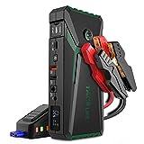 TACKLIFE T8 800A Peak 18000mAh Avviatore Batteria Auto con Display LCD (Fino a 7,0 Litri di Gas, Motore Diesel da 5,5 Litri), ripetitore per Batteria da 12 V con Cavo Smart Jumper (Verde)