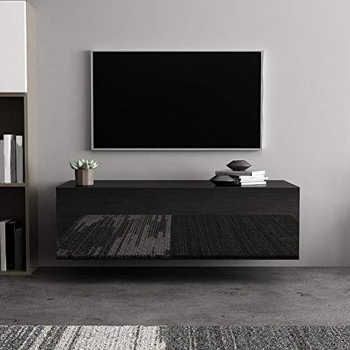 Pissente Tv-meubel hangend, tv-kast opslagkast hangkast TV-staander woonkamer slaapkamer woonmeubel zwart