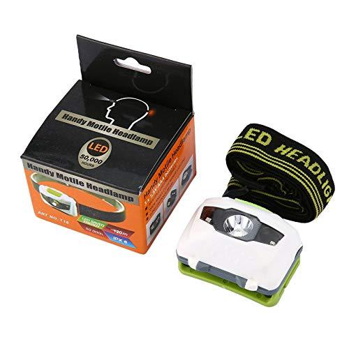 RoxTop LED Stirnlampe Scheinwerfer Lampe CE Camping Induktions Scheinwerfer Batteriebetrieben für Camping Wandern Angeln im Freien; Weiß & Grün, 70 * 50 * 65MM