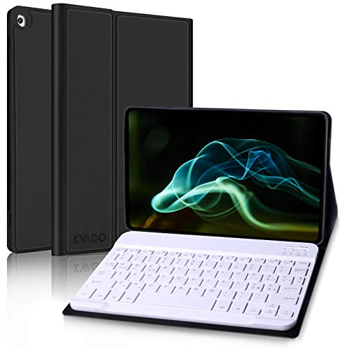 KVAGO Tastiera Bluetooth Italiano con Custodia per Samsung Galaxy Tab A 10.1 2019, Smart Cover Ultra Sottile e Leggero con Wireless Keyboard Tastiera Per Samsung Tab A 10.1 2019 T510/T515/T517-Nero