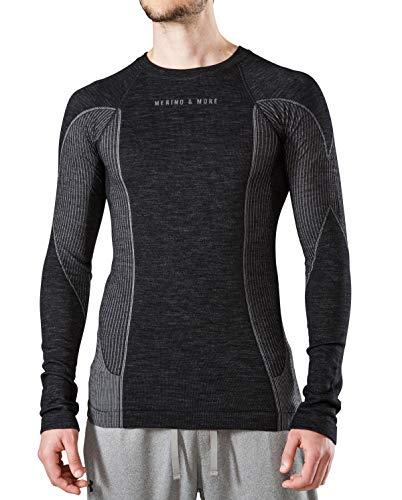 Merino & More Merino Shirt Herren Langarm - Premium Funktionsunterwäsche aus Merinowolle - Sport - Langarm - Funktionsunterhemd schwarz-grau Gr. L