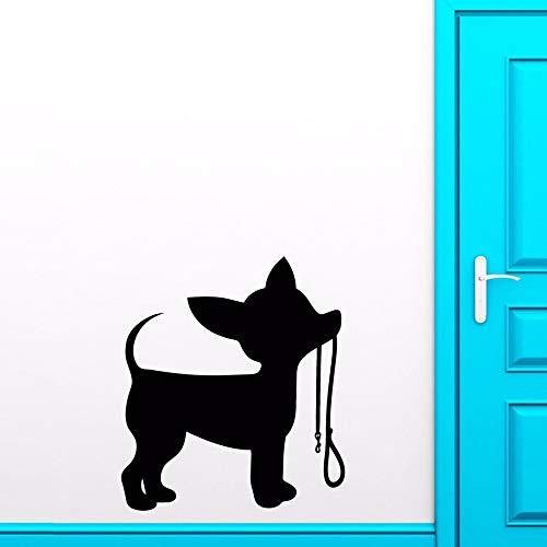 JJHR Wandtattoos Wandaufkleber Kleiner Hund Leine Wandaufkleber Home Interior Decor Silhouette Welpen Wandtattoo Chihuahua Kunst Aufkleber Tier 42 * 47 cm