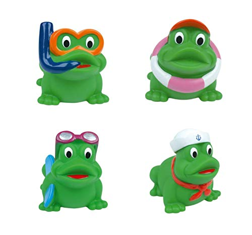 DAM Baby- und Badewannenspielzeug DAMWaterworld: Frog Friends L07xW05.5xH06.5cm, Set of 4 Funny Shoppers in a Nice Stow Bag with a Mesh Bottom, Allowing The Water to Leak Away, 3+, mehrfarbig (Mehr als eine Seite).