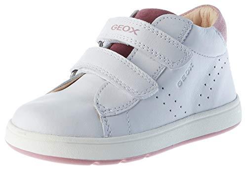 Geox B BIGLIA Girl C, First Walker Shoe Bimba, Bianca (White/Prune), 21 EU