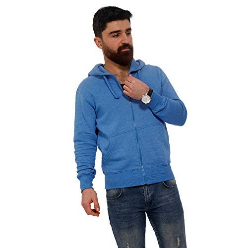 Raff & Taff - Sudadera con capucha y cremallera para hombre, básica, hasta 6XL Azul Moteado XXXL