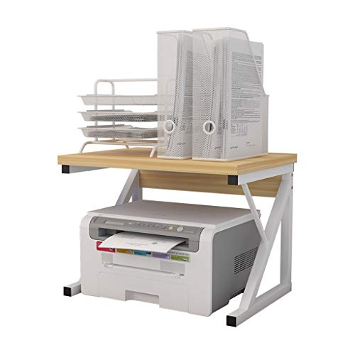 Double-layer Printer Rack Creative Printer Rack Desktop Double-layer Storage Rack Simple Multi-layer Rack Copy Rack (Color : White, Size : 54 * 40 * 37cm)