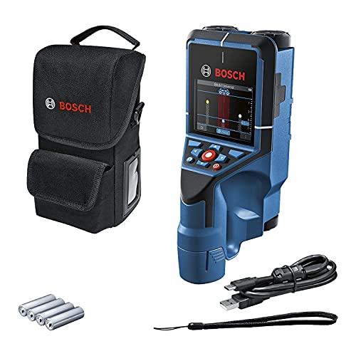 Bosch Professional Wallscanner D-tect 200 C (Ortung von (nicht-)spannungsführenden Leitungen, Metall, Kunststoffrohren, Holzteilen und Hohlräumen, USB-C™-Kabel, 4 AA-Batterien, Tasche)