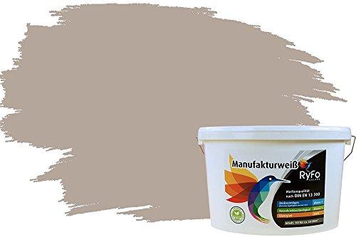 RyFo Colors Bunte Wandfarbe Manufakturweiß Fango Light 10l - weitere Braun Farbtöne und Größen erhältlich, Deckkraft Klasse 1, Nassabrieb Klasse 1