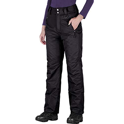FREE SOLDIER Women's Outdoor Snow Ski Insulated Pants Windproof Waterproof Breathable Pants for Snowboarding (Black Color, Medium/US 8-10)