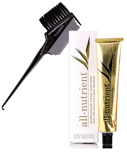 All-Nutrient Professional PERMANENT Cream Haircolor, Made with Natural & Organic Ingredients, 3.5 oz (w/ Sleek 3-in-1 Comb & Brush) Creme Hair Color Dye (8N - Medium Natural Blonde)