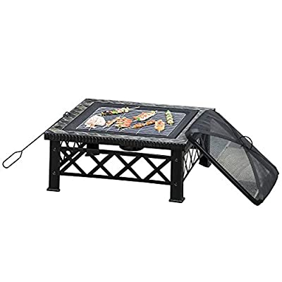 Outsunny 3 in 1 Square Fire Pit Square Table Metal Brazier for Garden, Patio with BBQ Grill Shelf, Spark Screen Cover, Grate, Poker, 76 x 76 x 47cm by Sold by MHSTAR