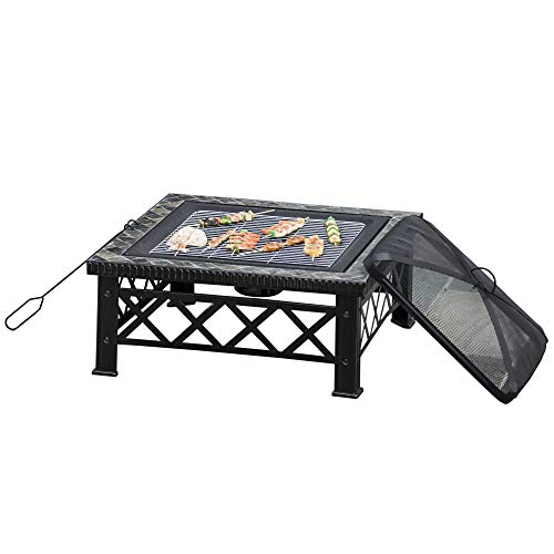 Outsunny 3 in 1 Square Fire Pit Square Table Metal Brazier for Garden, Patio with BBQ Grill Shelf, Spark Screen Cover, Grate, Poker, 76 x 76 x 47cm