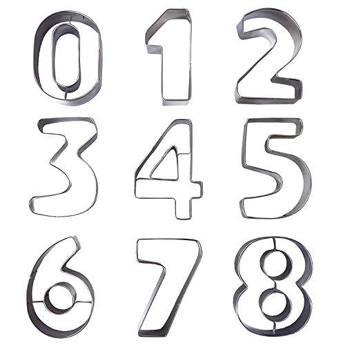 9-delige Grote Metalen Nummervorm Koekjes Snijset van Kurtzy - Roestvrijstalen Messen Inclusief Cijfers 0 - 9. Perfecte Vormen voor het Bakken van Koekjes Cake Decoratie Glazuurfondant en Suikerwerk