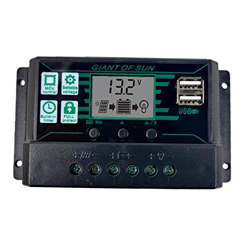 Baoblaze MPPT 20A-60A 12V/24V/5V del regulador del Panel Solar Dual USB puerto de carga controlador de pantalla LCD - 30A