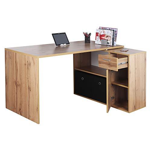 RICOO WM083-EW Schreibtisch Holz Eiche Braun Winkelkombination Arbeitstisch Bürotisch Computertisch Eckschreibtisch Akten Schrank Lowboard