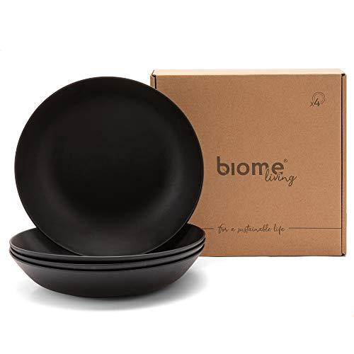 Biome Living Set de 4 Platos Profundos de bambú, sin BPA - Platos de bambú Elegantes y ecológicos - Vajilla de bambú para Adultos y niños cm. 22x22x4,5 h - Set de 4 Piezas (Gris Oscuro)