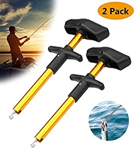 Meethome Easy Fish Hook Remover, 2019 New Squeeze-Out Fish Hook Separator Tools, Portable Easy Reach Aluminum Fishing Hooks Extractor (Gold 2 Pack)