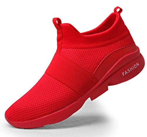 Jogging Shoes for Men Size 12 Laceless mesh Breathable Casual Walking Jogging Trainers Man red Slip on Lightweight Comfortable Sport Running Sneakers