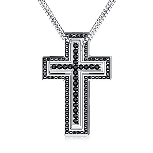SOULMEET Matching Cross Sterling Silver Couple Necklace Mother Daughter Son Sisters Friends 2 with Diamond Cut Round Black Cubic Zirconia Always Be with You Cross Shape Faith His Hers Couples Necklace