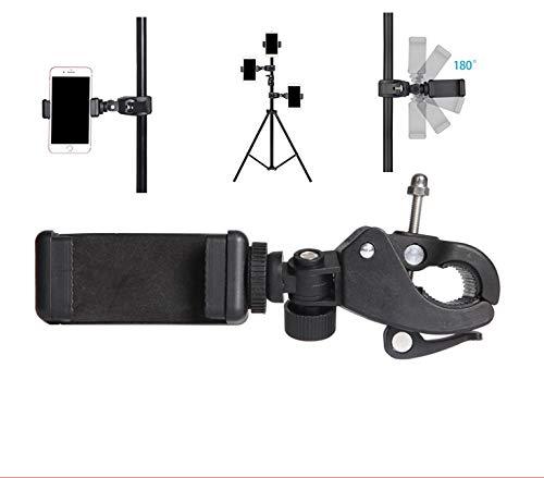 MeetRade Handy-Stativ-Adapter, Schnellspanner-Rohrklemmen-Halterungen mit 1/4-Zoll-Gewinde + verstellbarer Handy-Clip für Kameras, Notenständer, Mikrofonständer, Motorräder, Fahrräder