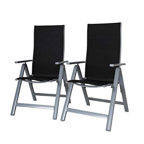 Strandgut07 klapstoel, aluminium tuinstoel, 9-voudig, 2-delig Set verstelbare luxe versie ergonomische zitting & rugleuning campingstoel zwart/zilver