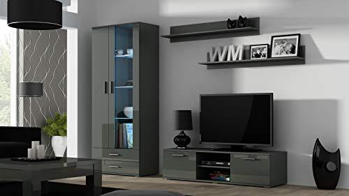 Wohnwand SOHO 10 mit Blauer LED Beleuchtung, Anbauwand, Wohnzimmerschrank, Schrankwand, Vitrine, Lowboard, Hängeregal (Grau/Grau Hochglanz)