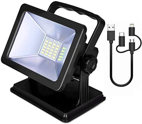 縦断勾配 Foco Led Portatil 1000LM 15W LED Reflector Recargable iluminación de Emergencia en garajes de jardín Soporte magnético IP65 Luces de Trabajo Impermeables