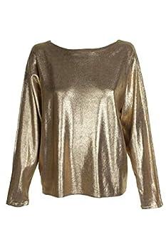 LAUREN RALPH LAUREN Womens Metallic Sparkly Sweater Gold S