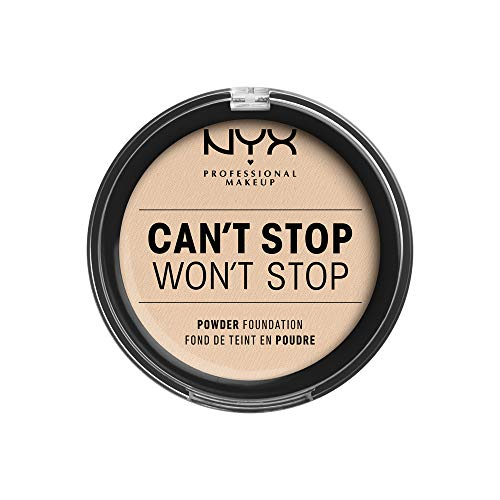 NYX Professional Makeup Can't Stop Won't Stop Full Coverage Powder Foundation, Mattes Finish, Glanzkontrolle, Langanhaltend, Vegane Formel, Farbton: Light Ivory