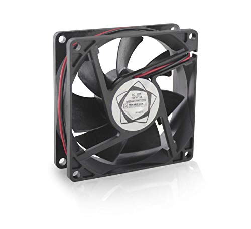 """MIYAKO 12V DC CPU Cooling Fan Super Silent 2600 RPM 7 Blades 3.2"""" x 3.2"""" x 1"""" inches 0.15A Ideal for Computer Cases, 3D Printers and Radiators (FA-112)"""