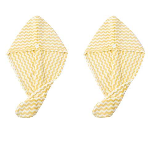 WFF sombrero 2 paquetes de secado para el cabello Toallas de la cabeza de la cabeza para las mujeres, tapa de la tapa de baño de baño suave de ultra suave Sombrero de pelo de secado rápido tapa de sec